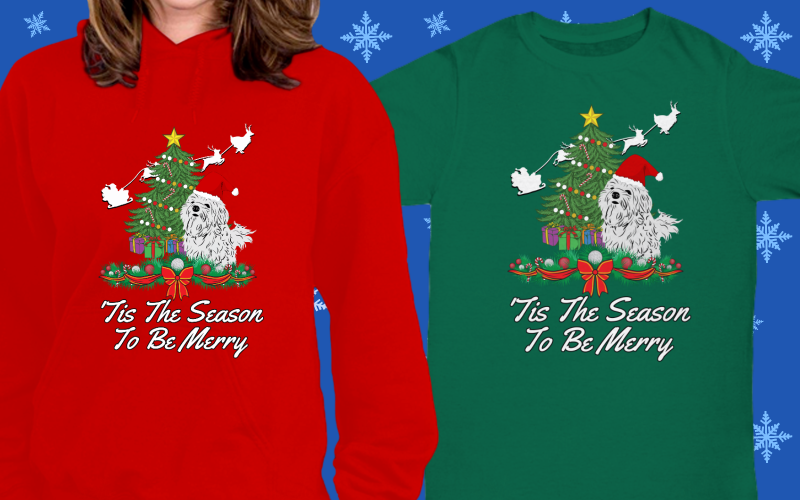 Merry Christmas Maltese Dog Lover Shirts